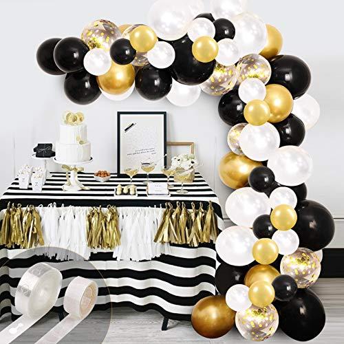 Kit de guirnalda de arco de globo negro,  120 unidades de confeti de oro blanco y globos metálicos de látex cromados con cortina de espumillón dorado para bodas,  cumpleaños,  aniversarios,  graduaciones