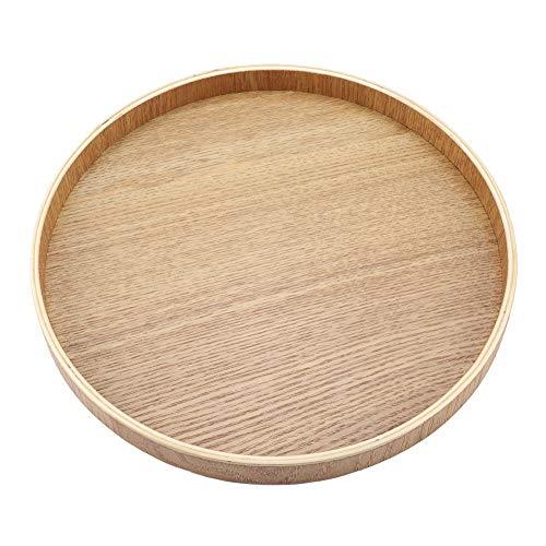 Bandeja de servir de madera redonda para té, frutas, caramelos, decoración del hogar