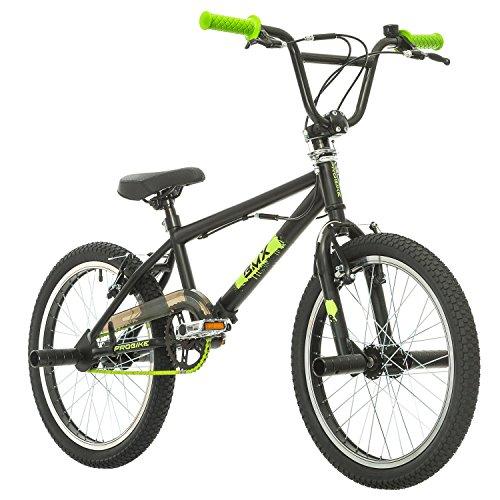 Probike, BMX 20 Zoll, Freestyle Bike, BMX, 360° Rotor-System, 4 stahl Pegs, Kettenschutz, Freilauf (Schwarz-Grün)