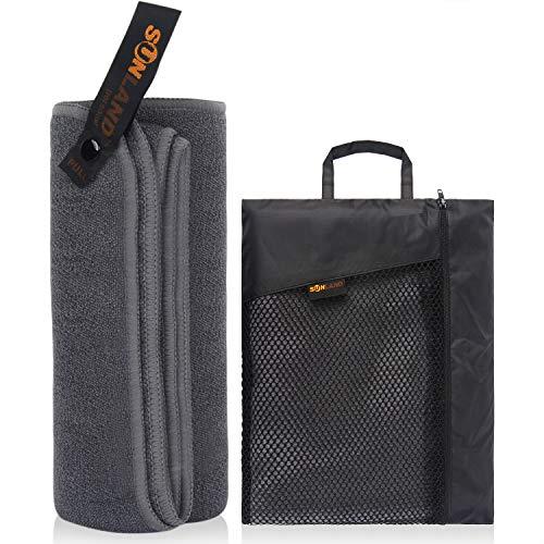Sunland Mikrofaser-Handtuch, Reisehandtuch, geeignet für Fitnessstudio, Strand, Surfen, Camping, Rucksack, ultraleicht, schnell trocknend, 61 x 122 cm, grau, 24