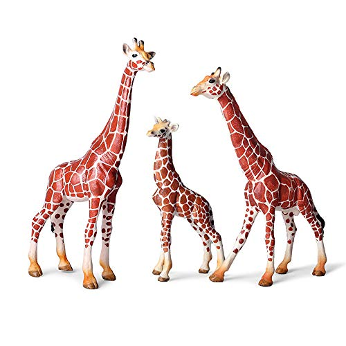 Realistic Giraffe Figurines with Cub, Plastic Safari Animal Figures Family Playset, Wildlife Animal Educational Toy Christmas Birthday Gift Great for Cake Topper, School Project, Model Collector