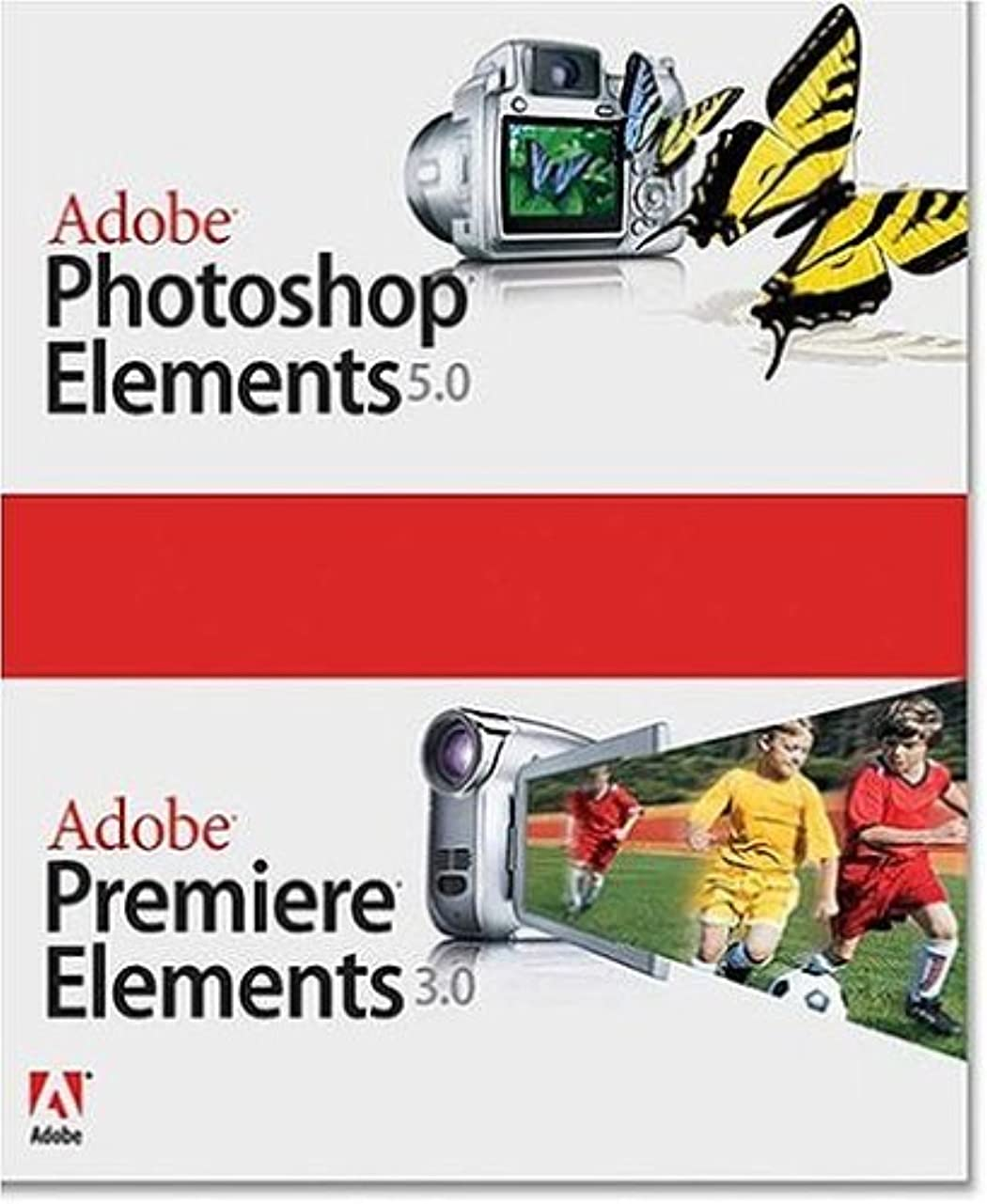 船尾悲しむ高度なAdobe Photoshop Elements 5.0 plus Adobe Premiere Elements 3.0 英語版 Windows版