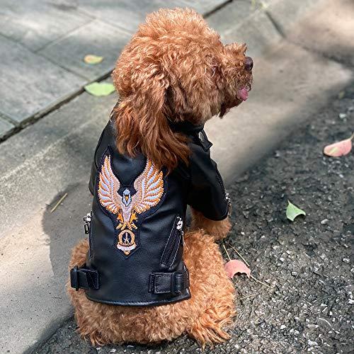 Lovelonglong Coole Hunde Lederjacke Warme Mäntel Hunde Winddicht Kaltes Wetter Mäntel für Große Mittlere Kleine Hunde mit Adler Stickerei Schwarz L