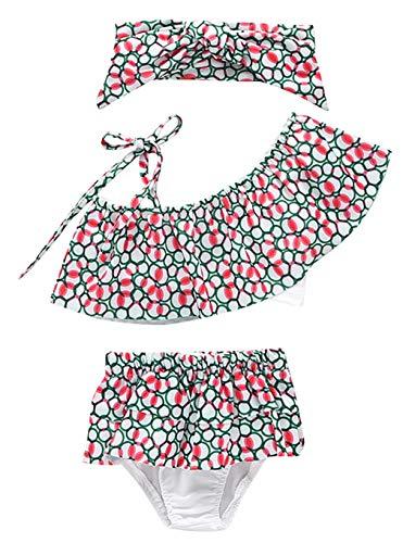 DEMU peuters baby meisjes tankini bikini badpak beachwear set met hoofdband 3 stuks