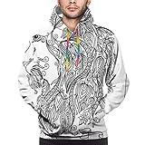 Men's Hoodies Sweatshirts,Visage of Zodiac Leo with Flowers On Hair King of Forest Horoscope Theme,Medium