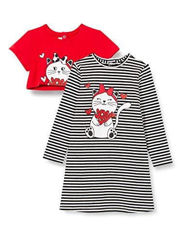 Chicco Abito Manica Lunga Vestito, Rosso e Nero, 062 Bimba