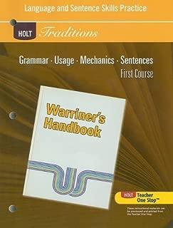 Language and Sentence Skills Practice Answer Key: Warriner's Handbook, 1st Course (Holt Traditions Warriner's Handbook)