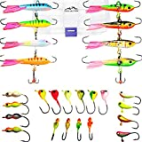 Frozen Lines Ice Fishing Jigs, Long-Lasting & Life Like 26pcs Ice Fishing Lures | Ideal for Panfish, Pike, Walleye, Perch & Crappie | Bonus; Online Fishing Guides with Hints & Tips |
