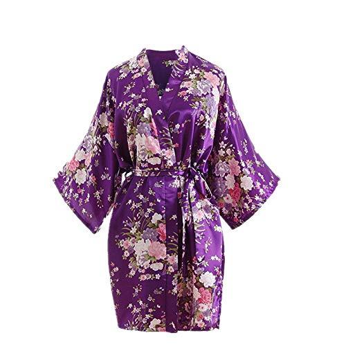 OPAKY Mujeres Sexy Cherry Blossom Kimono Bata De BañO Ropa Interior Camisón Kimono Bata de Vestir túnica lencería Ropa de Noche Prenda Despedida de Soltera