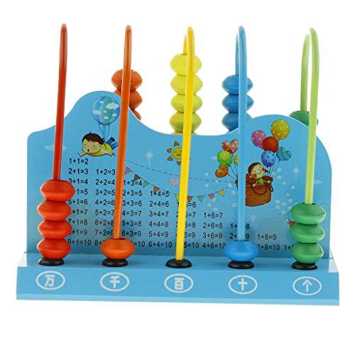 FLAMEER Mehrfarbige Rechenschieber Zählrahmen Rechenhilfe Abakus Kinder Lernspielzeug - Blau