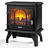 EUHOMY Electric Fireplace Stove , 20' Indoor Electric Fireplace Heater with Realistic Flame Effect, 1400W Space Heater for Quick Installation, Overheat Auto Shut Off Safety Function, CSA Certified