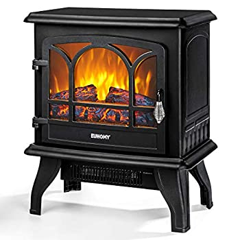 EUHOMY Electric Fireplace Stove  20  Indoor Electric Fireplace Heater with Realistic Flame Effect 1400W Space Heater for Quick Installation Overheat Auto Shut Off Safety Function CSA Certified