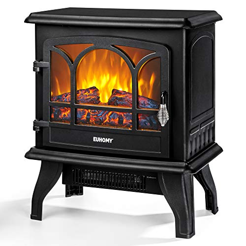 """EUHOMY Electric Fireplace Stove , 20"""" Indoor Electric Fireplace Heater with Realistic Flame Effect, 1400W Space Heater for Quick Installation, Overheat Auto Shut Off Safety Function, CSA Certified"""