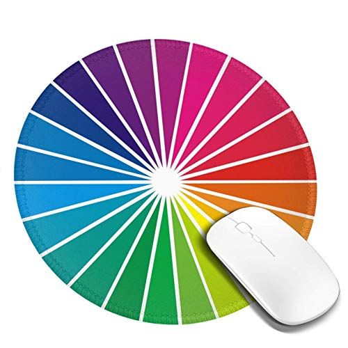 King Dare Color Circle Palette Mouse Pad, Non Slip Rubber Round Mousepads, Durable with Stitched Edges,Designed for Home and Office, Working and Gaming for Laptop,Computer, Pc Kids 7.9 X 7.9 Inches