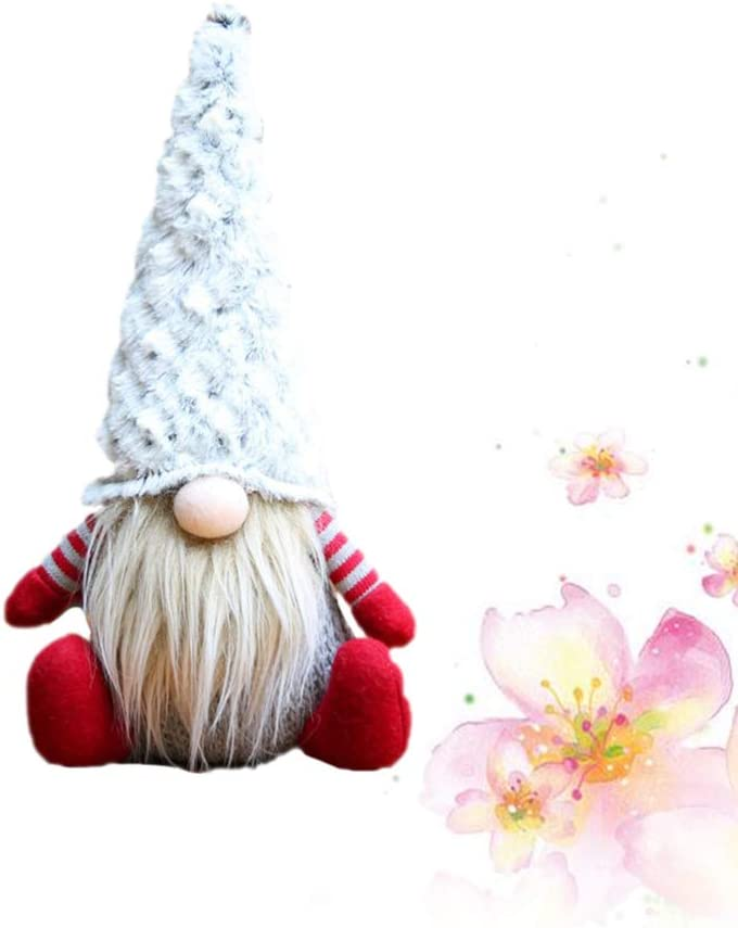 Grey Garneck Gnome Plush Toy Christmas Plush Ornaments Holiday Stuffed Doll for Christmas Table Top Decoration Party Gift Favors