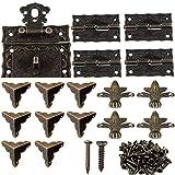 Cierre de Caja Cerradura Vintage Decorativo Antiguo, 4 Bisagra de Bronce, 8 Protecciones de la esquina, 4 pcs Pies de Vintage para Caja de Joyería Pequeña Gabinete Retro