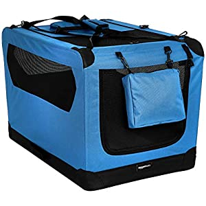 Amazon Basics Premium Folding Portable Soft Pet Dog Crate Carrier Kennel – 36 x 24 x 24 Inches, Blue