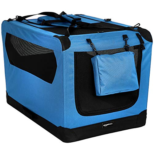 AmazonBasics Premium Folding Portable Soft Pet Dog Crate Carrier Kennel - 36 x 24 x 24 Inches, Blue AmazonBasics Carriers Pet products Soft-Sided