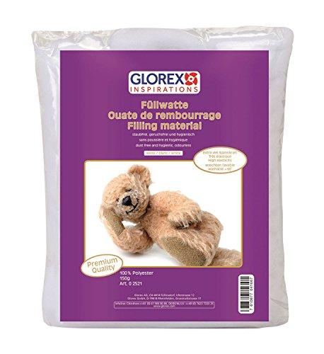 Glorex 0 2521 - Füllwatte weiß, 150 g, Füllmaterial aus 100 % Polyester, mit extra viel Spannkraft, staubfrei, waschbar, geruchsfrei und hygienisch