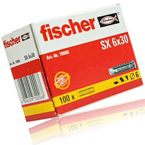 2er Set Fischer Dübel SX 6x30 mm Packung á 100 Stück - Nylon Spreizdübel mit 4-Fach-Spreizung für optimalen Halt im Baustoff - Leistungsstarker 6mm Universal Nylondübel für vielfältige Anwendungen