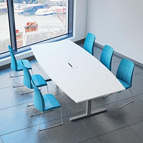 Easy Konferenztisch Bootsform 240x120 cm Weiß mit Elektrifizierung Besprechungstisch Tisch, Gestellfarbe:Silber