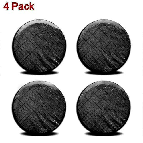 Ximan Rigging 4 Pieces Set Tire Covers Sun UV Protect Waterproof Aluminum Film Cotton Lining for 27'-29' RV Wheel Protector for Trailer Truck Camper Auto Motor Home (Black)