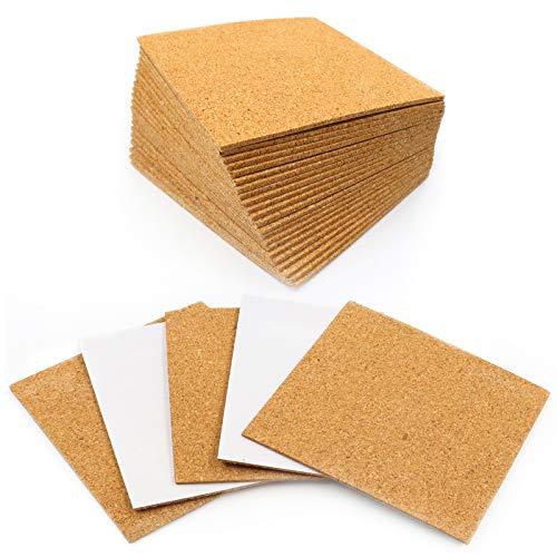 30 Pack Self-Adhesive Cork Squares, Owlbbabies 4 x 4 Inch Cork Adhesive Sheets, Reusable Cork Board Cork Backing Sheets for Coasters and DIY Crafts, Mini Wall Cork Tiles Mat with Strong Adhesive
