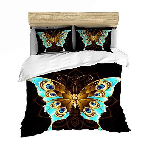 HNHDDZ 3D Butterfly Black Blue Purple Duvet cover Pillowcase Colorful Animal 3D Pattern Microfiber Bedding set for Kids Boy Girl Teen Soft Smooth Breathable (Golden blue, Super King 220x260 cm)