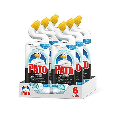 Pato, 750 ml WC Power Lejía fragancia Marine, Limpiador Quitamanchas para Inodoro, [Pack de 6][Todos los aromas], Blanco