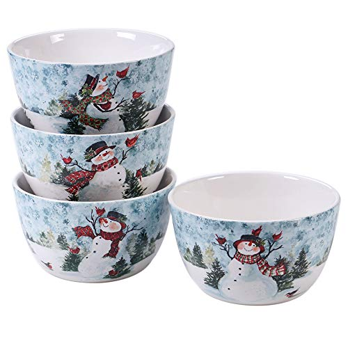 Certified International 41824SET4 Watercolor Snowman 5.5' Ice Cream Bowls, Set of 4 Assorted Designs, Multicolored