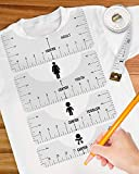6 Pcs T-Shirt Ruler Guide Alignment Tool to Center Designs T-Shirt for Adult Youth Toddler Infant (Transparent)