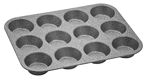 Aeternum Bakeware Petravera Stampo per Muffin da 12 Pezzi, Antiaderente in Carbon Steel, Pasticceria