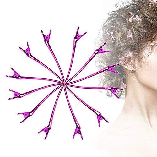 Pinces à cheveux - 12 PCS/Set Professionnel Salon Métal Barber Coupe Clip Barrette Coiffure Pinces Styling Outil 2 Couleurs(rose rouge)