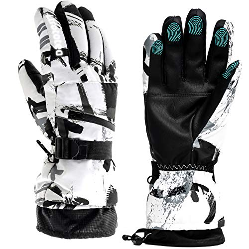 Guantes de esquí para nieve y invierno, cálidos guantes para pantalla táctil, impermeables, para exteriores, para motocicleta (mediano)