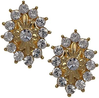 IMMACOLATA Gold Plated Crystal Clip On Earrings