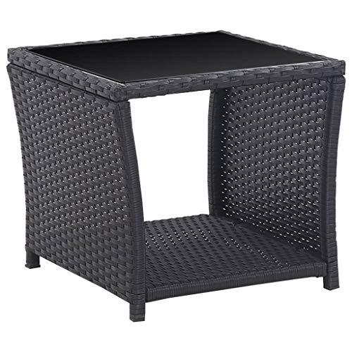 vidaXL Bistroset 3-TLG. mit Auflagen Balkonset Sitzgruppe Gartenmöbel Balkonmöbel Gartenset Garnitur Tisch Stühle Poly Rattan Schwarz - 4