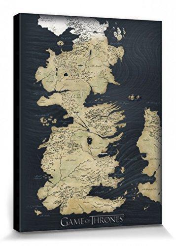 1art1 Juego De Tronos - Mapa De Westeros, Los Siete Reinos Cuadro, Lienzo Montado sobre Bastidor (80 x 60cm)