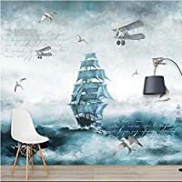 Iusasdz カスタム3D北欧漫画飛行機セーリング海大きなテレビ背景壁紙壁画250X175Cm