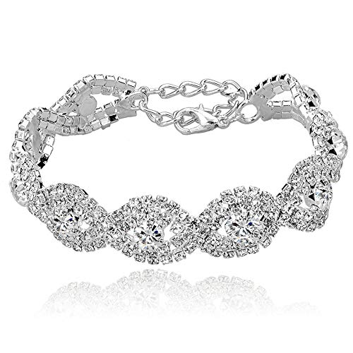 Long Way Women's Silver Plated Rhinestone Bracelets