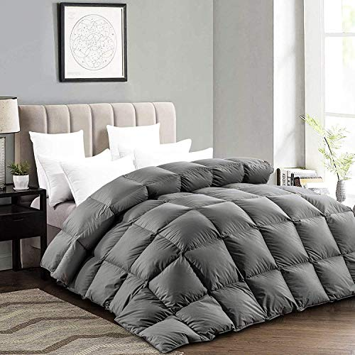 """ROYALAY Luxurious 116""""x108"""" Super King Size Goose Down Comforter, 75 OZ Fluffy Down Duvet Insert, 600+ Cleanness Goose Down Feather Hypo-allergenic, 100% Cotton Shell Down Proof with 8 Corner Tabs"""