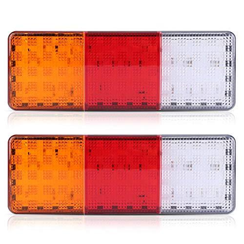 Qiilu 2 pièces Feu Arrière Remorque, 12V 75-LED Feu arrière LED pour Camion Remorque Bateau Feu Arrière Queue de Frein Inverse Indicateur Lampe Étanche