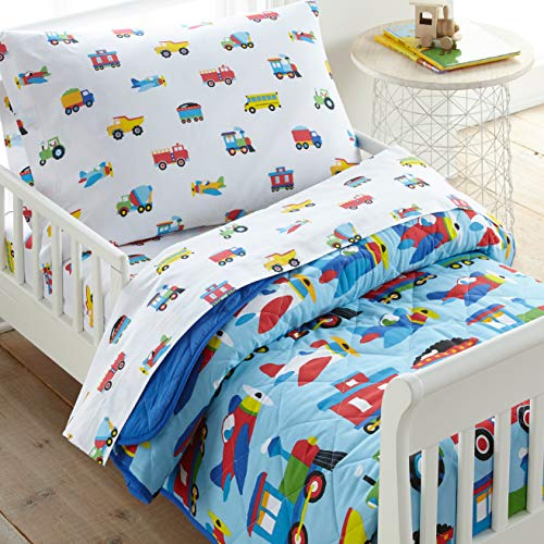 Wildkin 100% Cotton 4 Piece Toddler Bed-in-A-Bag for Boys & Girls, Bedding Set Includes Comforter, Flat Sheet, Fitted Sheet & Pillowcase, Bed Set for Cozy Cuddles, BPA-Free (Trains, Planes & Trucks)
