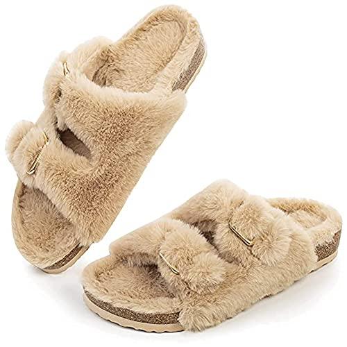 Pantuflas para mujer, de felpa, cálidas, para invierno, cómodas, con suelas gruesas