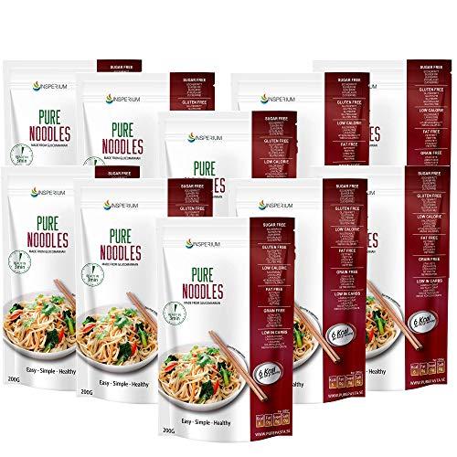 PureNoodles Tallarines Konjac Sin Gluten 10 Pack 200 gramos | Vivir Sin Gluten Con Harina Gluten Free Con La Pasta Contra Intolerancia Gluten | Bajo En Calorias Y Carbohidratos