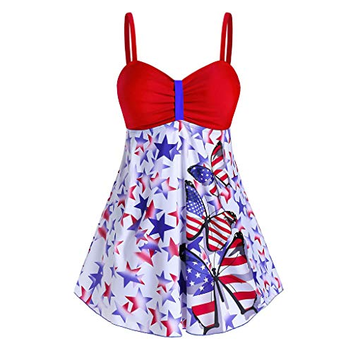 KIMODO Damen Bikini Set Neckholder Ärmellose Bluse Badeanzug Zweiteiliger Gefüllter BH Badebekleidung Beachwear Loose Cami Tank Top Shirts (Rot, 3XL)