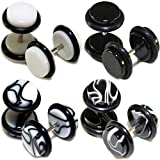 4 Pairs Black White Marble Acrylic Fake Cheaters Faux Illusion Plugs 0G Gauge 8mm Medium Size (8pcs)