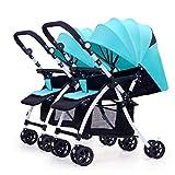 WMDXTM Doppelwagen, Twin Tandem Kinderwagen mit Verstellbarer Rückenlehne, Fußstütze, faltbares Design for den einfachen Transport