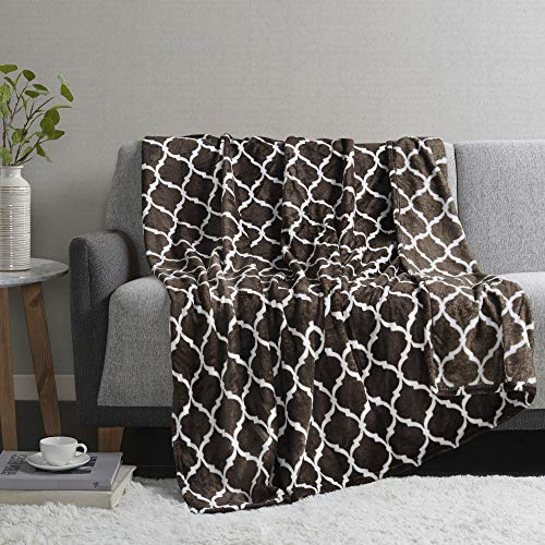 Madison Park Ogee Luxury Oversized Throw Brown 6070 Premium Soft Cozy Microlight For Bed, Coach or Sofa