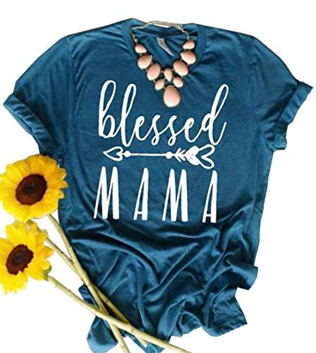 JINTING Blessed Tee Shirt for Women Thanksgiving Tee Shirts Short Sleeve Letter Print Graphic Tee Shirt, Blue, Medium