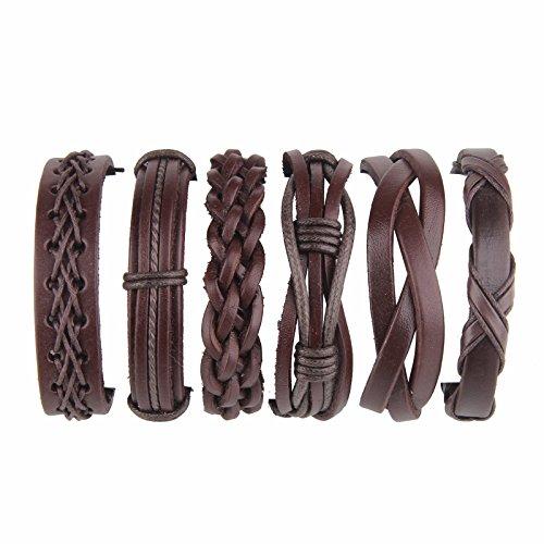 Beauty7 6 Pcs Pulseras Étnico Retro de Cuero Trenzadas Pulseras del Correa del Trenzado Brazalete Ajustable para Hombres Mujeres Leather Wristbands